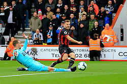 AFC Bournemouth's Ryan Fraser (right) has a chance on goal during the Premier League match at the Vitality Stadium, Bournemouth.