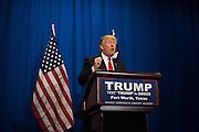 Donald Trump speaks during a press conference before a campaign rally on February 26, 2016 in Fort Worth, Texas.  (Cooper Neill for The New York Times)