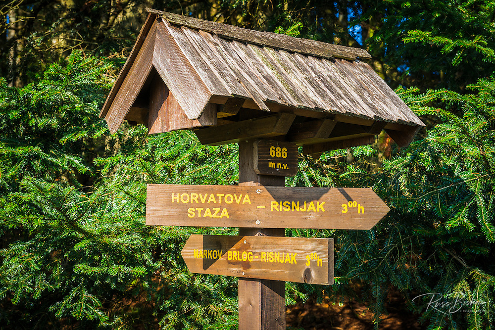 Trail sign, Risnjak National Park, Croatia