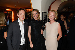 Left to right, former editor of Tatler GEORDIE GRIEG, Editor of Tatler KATE REARDON and former editor of Tatler JANE PROCTER at an exhibition of the 50 best party pictures from Tatler from the past 50 years, held at Annabel's, Berkeley Square, London on 9th September 2013.