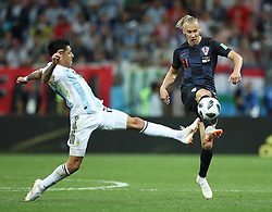 NIZHNY NOVGOROD, June 21, 2018  Enzo Perez (L) of Argentina vies with Domagoj Vida of Croatia during the 2018 FIFA World Cup Group D match between Argentina and Croatia in Nizhny Novgorod, Russia, June 21, 2018. (Credit Image: © Wu Zhuang/Xinhua via ZUMA Wire)