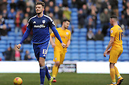 Cardiff City's Anthony Pilkington (13) celebrates after scoring his and his teams 2nd goal from a penalty. Skybet football league championship match, Cardiff city v Preston NE at the Cardiff city stadium in Cardiff, South Wales on Saturday 27th Feb 2016.<br /> pic by Carl Robertson, Andrew Orchard sports photography.