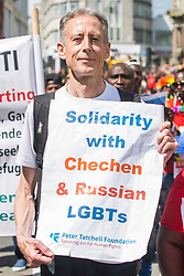 © Licensed to London News Pictures. 05/08/2017. Brighton, UK. Human rights companies PETER TATCHELL joins thousands of members of the LGBT community march through Brighton as part of the 2017 edition of Brighton Pride. Photo credit: Hugo Michiels/LNP