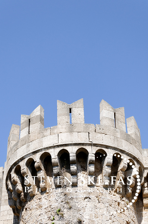 Rhodes. Greece. Towers turrets of the Palace of the Grand Masters. The old walled town of Rhodes is a UNESCO world heritage listed site and the best preserved, oldest and largest living medieval city in Europe.