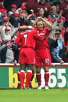Photo. Andrew Unwin, Digitalsport.<br /> NORWAY ONLY<br /> <br /> Middlesbrough v Manchester City, Barclaycard Premier League, Riverside Stadium, Middlesbrough 08/05/2004.<br /> Middlesbrough's Massimo Maccarone (c) is congratulated on scoring by his team-mates, George Boateng (l) and Bolo Zenden (r).