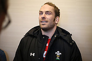 Alun Wyn Jones of Wales speaks to the press at the Wales Rugby team announcement press conference at the Vale Resort, Hensol near Cardiff, South Wales on Wed 24th February 2016. The team are preparing for the the RBS Six nations championship match against France on Friday night.<br /> pic by  Andrew Orchard, Andrew Orchard sports photography.