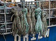 Marine rope pattern. Oban is an important tourism hub and Caledonian MacBrayne (Calmac) ferry port, protected by the island of Kerrera and Isle of Mull, in the Firth of Lorn, Scotland, United Kingdom, Europe.