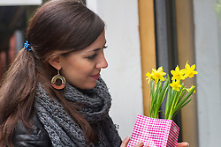 Young woman buying yellow daffodil flowers in the flower shop, Freiburg im Breisgau, Baden-Wuerttemberg, Germany