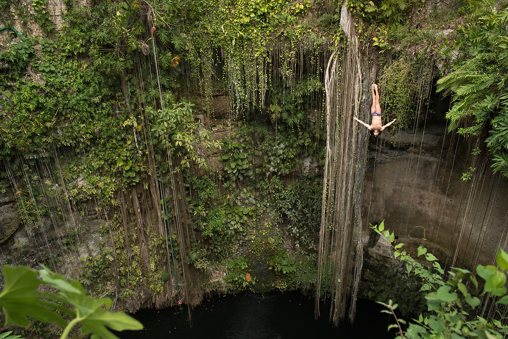 Jonathan Paredes trains at the Cenote Ik Kil in Yucatan, Mexico. <br /> Client: Red Bull