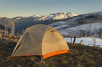 Backcountry camp on Driveway Butte, North Gardner Mountain in the distance, North Cascades Washington