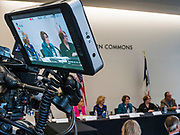 04 MAY 2019 - DES MOINES, IOWA: US Senator AMY KLOBUCHAR (D-MN), center in monitor, participates in a roundtable discussion of substance abuse and addiction on the Drake University campus Saturday. Sen. Klobuchar has made fighting substance abuse and addiction a cornerstone of her campaign. Sen. Klobuchar is touring Iowa Saturday to support her bid for the Democratic nomination of for the US Presidency in the 2020 election. Iowa traditionally hosts the the first election event of the presidential election cycle. The Iowa Caucuses will be on Feb. 3, 2020.    PHOTO BY JACK KURTZ