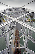 The top of the lift span of the Cape Cod Canal railroad bridge, viewed from the north tower.