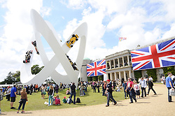 © Licensed to London News Pictures. 30/06/2012 .Lotus celebration sculpture outside Goodwood House..The Goodwood Festival of Speed is the largest motoring garden party in the world - a unique summer weekend, The largest car culture event in the world. Held in the grounds of Goodwood House,Chichester..Photo credit : Grant Falvey/LNP