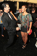 September 6, 2012- New York, New York: (L-R) On-air personality Rocco Leo Gagliogi and Reality Star/Entreprenuer Angela Simmons backstage at the 2012 Mercedes-Benz Fashion Week for The ARISE Magazine Icons Fashion Showcase featuring the designs of Ozwald Boateng, Tiffany Amber, Tsemaye Binitie, Maki Oh and Gavin Rajah held at Lincoln Center on September 6, 2012 in New York City. ARISE is Africa's first and foremost international style magazine. Highlighting African achievement in fashion, music, culture and politics, it provides a positive portrayal of the continent and its contribution to contemporary society across the world. (Terrence Jennings)