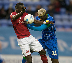 Famara Diedhiou of Bristol City (L) and Cedric Kipre of Wigan Athletic in action - Mandatory by-line: Jack Phillips/JMP - 11/01/2020 - FOOTBALL - DW Stadium - Wigan, England - Wigan Athletic v Bristol City - English Football League Championship