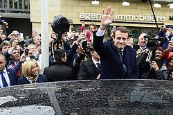 May 7, 2017 - Le Touquet Paris Plage, France, France - Emmanuel Macron - candidat En Marche aux elections presidentielles de 2017.et sa femme Brigitte Trogneux se rendant au bureau de vote pour le second tour des elections presidentielles (Credit Image: © Panoramic via ZUMA Press)