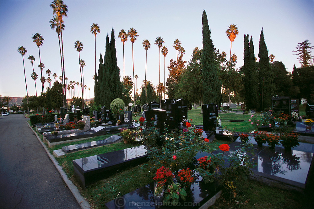 """Hollywood Forever Cemetery in Los Angeles, California is the final resting place of many movie stars. The cemetery also has a funeral chapel equipped for live webcasts of funeral services and """"LifeStory"""" tributes."""