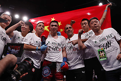 HOUSTON, Jan. 27, 2019  Xu Can (4th R) of China celebrates during the awarding ceremony after winning the World Boxing Association (WBA) featherweight champion in Houston, the United States, on Jan. 26, 2019. Xu Can lifted China's first ever World Boxing Association title here on Saturday after he defeated defending champion Jesus Rojas of Puerto Rico by unanimous decision. (Credit Image: © Steven Song/Xinhua via ZUMA Wire)