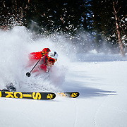 Andrew Whiteford skis the Teton backcountry powder after a winter storm clears near Jackson Hole Mountain Resort.