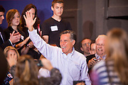 13 FEBRUARY 2012 - MESA, AZ:   MITT ROMNEY waves to supporters while campaigning for the Republican nomination for President in Mesa, AZ. Several thousand people crowded into the Mesa Amphitheatre in Mesa Monday night to hear Romney speak. Romney, a Mormon, is expected to win in Arizona, which has a large Mormon population. Arizona's Republican primary in February 28.      PHOTO BY JACK KURTZ