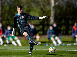 WREXHAM, WALES - Friday, March 26, 2021: Wales' goalkeeper Lewis Webb during an Under-21 international friendly match between Wales and Republic of Ireland at Colliers Park. Republic of Ireland won 2-1. (Pic by David Rawcliffe/Propaganda)