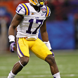 Jan 9, 2012; New Orleans, LA, USA; LSU Tigers cornerback Morris Claiborne (17) against the Alabama Crimson Tide during the first half of the 2012 BCS National Championship game at the Mercedes-Benz Superdome.  Mandatory Credit: Derick E. Hingle-US PRESSWIRE