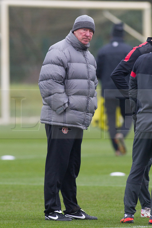 © Licensed to London News Pictures . 06/11/2012 . Manchester , UK . Sir Alex Ferguson on the 26th anniversary since taking charge at Manchester United . Manchester United players train this morning (6th November 2012) at the club's training facility in Carrington , ahead of their Champions League match against SC Braga in Portugal tomorrow (7th November 2012) . Photo credit : Joel Goodman/LNP