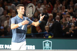 November 1, 2018 - Paris, France - NOVAK DJOKOVIC of Serbia after winning his third round match in the Rolex Paris Masters tennis tournament in Paris France. (Credit Image: © Christopher Levy/ZUMA Wire)