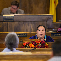 Navajo Nation council delegate Amber Crotty leads a discussion about senior care facilities during the Navajo Nation Council session Tuesday in Window Rock.