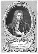 John Radcliffe (1650-1714), English physician born at Wakefield, Yorkshire. Attended William III, Mary II and Queen Anne. Radcliffe Infirmary and Observatory at Oxford built and St Bartholomew's Hospital, London, enlarged with money bequested by him.  Engraving of 1710 after portrait by Godfrey Kneller (1646-1723).