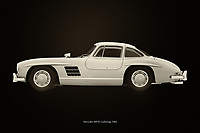 The Mercedes 300 SL Gullwings is the most coveted Mercedes among car collectors and therefore the most expensive. If you can see this Mercedes 300 SL Gullwings for once in real life you will do everything to sit in it, let alone drive it. On this painting I pictured it in a closed version. Usually you see the Mercedes 300 SL Gullwings with its doors open but just like this Mercedes I am averse to the influence of others.<br />