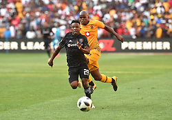 South Africa: Johannesburg: Orlando Pirates player Paseka Mako challenges for the ball against Kaizer Chiefs player Willard Katsande during the Soweto derby, for the Absa Premiership at FNB Stadium, Gauteng.<br />Picture: Itumeleng English/African News Agency (ANA)