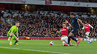 Football - 2019 / 2020 Premier League - Arsenal vs. Everton<br /> <br /> Dominic Calvert-Lewin (Everton FC ) with a chance at the Arsenal goal at The Emirates Stadium.<br /> <br /> COLORSPORT/DANIEL BEARHAM