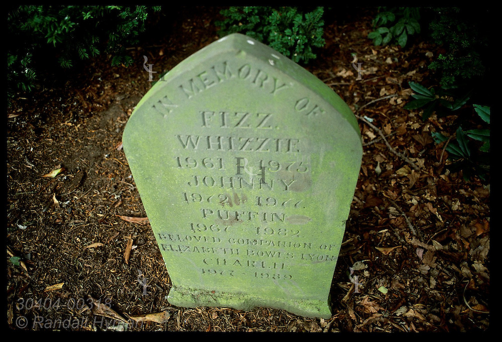 Tombstone in small pet cemetery bears unusual epitaphs from Elizabeth Bowes Lyon to her pets; Glamis Castle, Scotland.