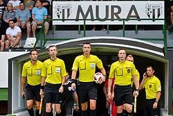 Referees prior football match between NS Mura and NK Domzale in 3rd Round of Prva liga Telekom Slovenije 2018/19, on Avgust 05, 2018 in Mestni stadion Fazanerija, Murska Sobota, Slovenia. Photo by Mario Horvat / Sportida