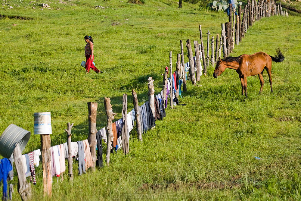 A woman hangs her laundry out to dry on a barbed wire  fence near the home of José Angel Galaviz, a rancher of Pima heritage who lives in the Sierra Mountains  near Maycoba, in the Mexican state of Sonora. (José Angel Galaviz Carrillo is featured in the book What I Eat: Around the World in 80 Diets.)