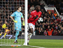 Manchester United's Romelu Lukaku celebrates scoring his side's first goal during the UEFA Champions League match at Old Trafford, Manchester.