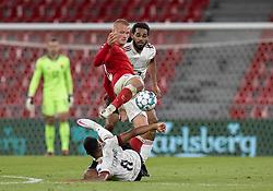 Kasper Dolberg (Danmark) mellem Youri Tielemans og Jason Denayer (Belgien) under UEFA Nations League kampen mellem Danmark og Belgien den 5. september 2020 i Parken, København (Foto: Claus Birch).