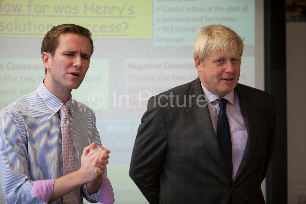London, UK. Friday 19th October 2012. The Mayor of London, Boris Johnson at takes part in a history class at Pimlico Academy secondary school as he unveils ambitious plans to make London a world leader in education. The announcement coincides with the publication of the final report from the Mayor's Education Inquiry, which the Mayor commissioned to look at the challenges facing London's schools.