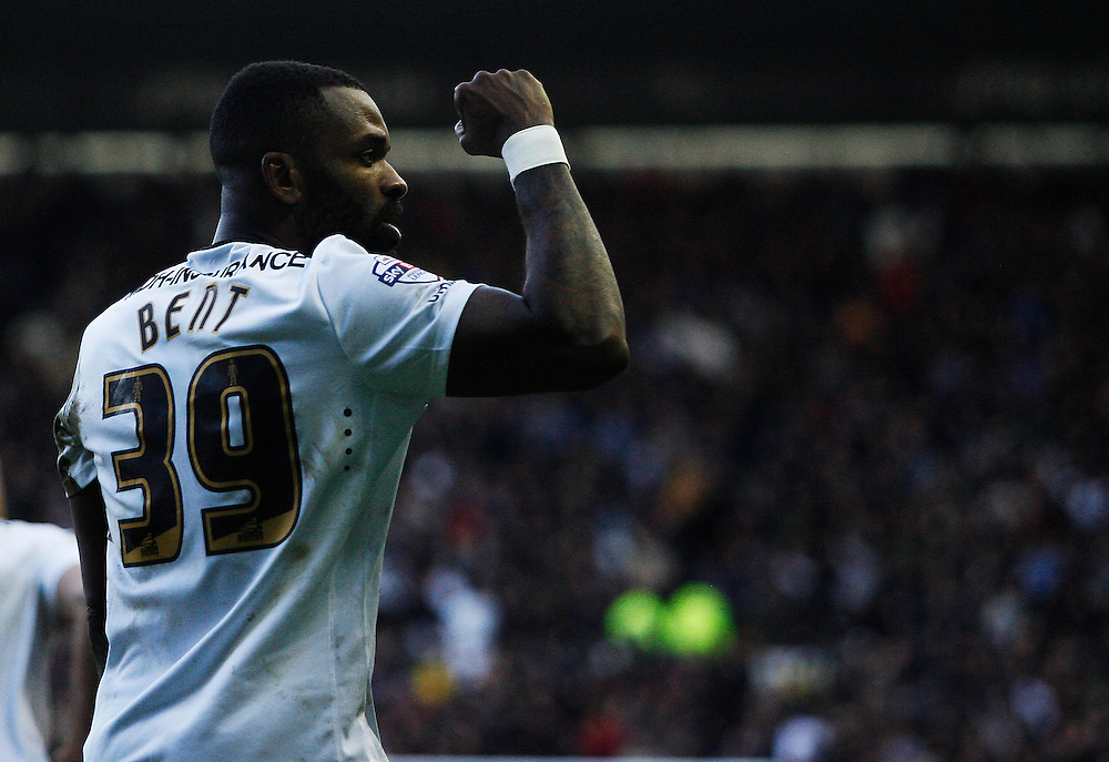 Derby County's Darren Bent celebrates scoring his sides third goal from the penalty spot<br /> <br /> Photographer Jack Phillips/CameraSport<br /> <br /> Football - The Football League Sky Bet Championship - Derby County v Sheffield Wednesday - Saturday 21st February 2015 - iPro Stadium - Derby<br /> <br /> © CameraSport - 43 Linden Ave. Countesthorpe. Leicester. England. LE8 5PG - Tel: +44 (0) 116 277 4147 - admin@camerasport.com - www.camerasport.com