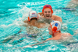 Eelco Wagenaar of the Netherlands in action against Romania during the Olympic qualifying tournament. The Dutch water polo players are on the hunt for a starting ticket for the Olympic Games on February 16, 2021 in Rotterdam