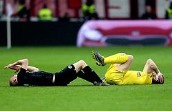 Chelsea's Jorginho (right) and Eintracht Frankfurt's Sebastian Rode both go down with head injuries during the UEFA Europa League Semi final, first leg match at The Frankfurt Stadion, Frankfurt.