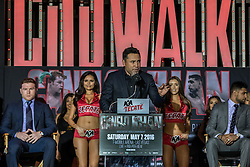 LOS ANGELES, CA - MARCH 2: Oscar De La Hoya attends Canelo vs Khan press conference at Universal CityWalk - Five Towers Stage on March 2, 2016 in Los Angeles. Canelo vs. Khan, a 12-round fight for Canelo's WBC, Ring Magazine and Lineal Middleweight World Championships, is promoted by Golden Boy Promotions in association with Canelo Promotions and sponsored by Cerveza Tecate, BORN BOLD, O'Reilly Auto Parts and Casa Mexico Tequila. The mega-event will take place on Saturday, May 7 at T-Mobile Arena in Las Vegas and will be produced and distributed live by HBO Pay-Per-View beginning at 9:00 p.m. ET/6:00 p.m. PT. Byline, credit, TV usage, web usage or linkback must read SILVEXPHOTO.COM. Failure to byline correctly will incur double the agreed fee. Tel: +1 714 504 6870.