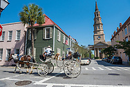 The intersection of Queen Street and Church Street in historic downtown Charleston.