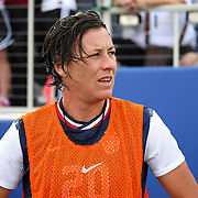 U.S. forward Abby Wambach (20) rests on the bench during an international friendly soccer match between the United States Women's National soccer team and the Russia National soccer team at FAU Stadium on Saturday, February 8, in Boca Raton, Florida. (AP Photo/Alex Menendez)