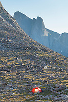 Noel Lake backcountry camp with red tent. Pronghorn Peak is in the disatance. Bridger Wilderness. Wind River Range, Wyoming