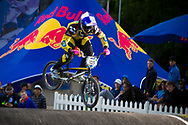 #105 (NHLAPO Sifiso) RSA at the UCI BMX Supercross World Cup in Papendal, Netherlands.
