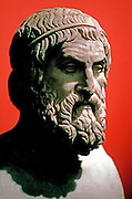 GREECE, HISTORIC ART AND ARTIFACTS Bust of Sophocles the philosopher in the National Museum in Athens