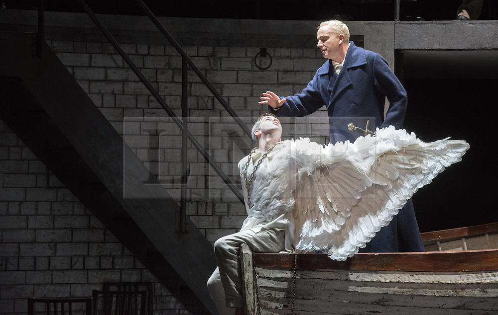 © Licensed to London News Pictures. 20/05/2013. Welsh National Opera present Wagner's Lohengrin, in a co-production with Theatr Wielki, Warsaw. Wales Millennium Centre, Cardiff. Featuring Daniel Williams (The Swan) & Peter Wedd (Lohengrin).Photo credit: Tony Nandi/LNP.