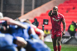 Scarlets' Tom Varndell in action <br /> <br /> Photographer Craig Thomas/Replay Images<br /> <br /> Guinness PRO14 Round 17 - Scarlets v Leinster - Friday 9th March 2018 - Parc Y Scarlets - Llanelli<br /> <br /> World Copyright © Replay Images . All rights reserved. info@replayimages.co.uk - http://replayimages.co.uk